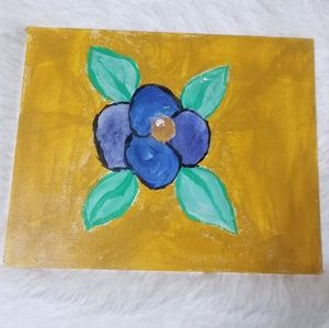 Nwot Inspiraton Blue flowers canvas painting 8x10